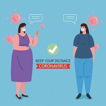 Dystans społeczny, utrzymuj dystans w społeczeństwie wobec ludzi, którzy chronią przed covid-19, kobietami noszącymi maski medyczne przed koronawirusem