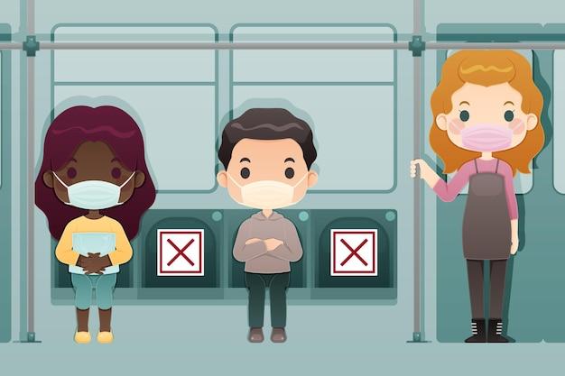 Dystans społeczny w maskach autobusowych i medycznych