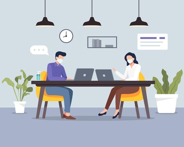 Dystans społeczny w miejscu pracy osoby utrzymujące dystans w biurze świadomość bezpieczeństwa przed wirusem covid pracownicy zachowują dystans podczas pracy w miejscu pracy na płasko