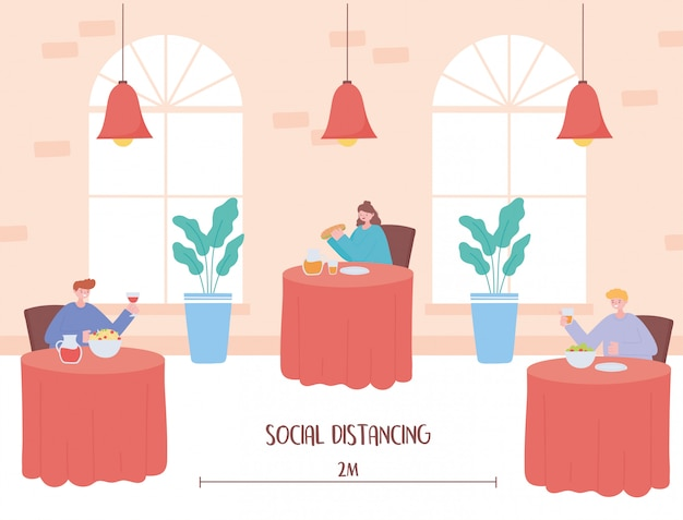 Dystans społeczny w restauracji, bezpieczna odległość między stołami w kawiarni lub restauracji, zapobieganie infekcji koronawirusem