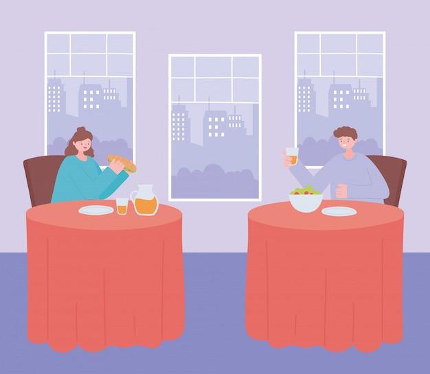 Dystans społeczny w restauracji, ludzie jedzący jedzenie samotnie przy stołach, pandemia, zapobieganie infekcji koronawirusem