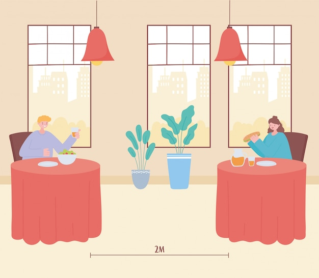 Dystans społeczny w restauracji, młodzi ludzie siedzący przy stolikach oddzieleni od siebie i jedzący, zapobieganie zakażeniu koronawirusem