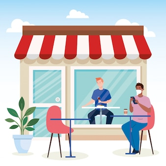 Dystans społeczny w restauracji nowej koncepcji, grupowanie mężczyzn na stołach, ochrona, zapobieganie zakażeniu koronawirusem 19
