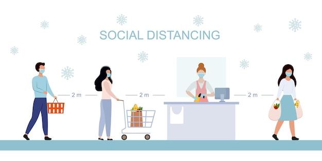 Dystans społeczny w supermarkecie. baner ostrzegający o rozprzestrzenianiu się koronawirusa ncov-19. odległość między ludźmi wynosi 2 metry. płaski charakter wektor. zamaskowani mężczyźni w sklepie.