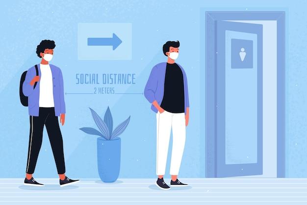 Dystans społeczny w toaletach publicznych