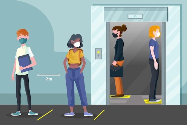 Dystans społeczny w windzie