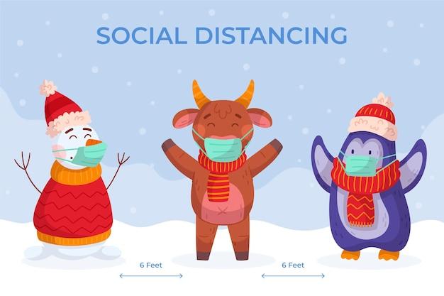 Dystans społeczny z postaciami bożonarodzeniowymi