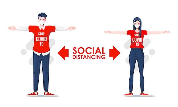 Dystans społeczny, zachowaj dystans w społeczeństwie publicznym, aby chronić się przed koncepcją zapobiegania rozprzestrzenianiu się epidemii koronawirusa covid-19 z mężczyzną i kobietą, zachowuj dystans w spotkaniu. wektor wzór znaków