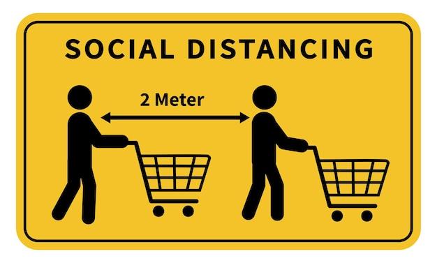 Dystans społeczny zachowaj odległość 12 metrów w sklepach podczas epidemii koronawirusa