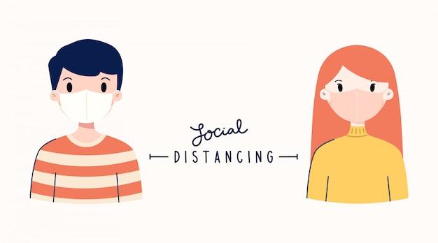 Dystans społeczny. zachowaj odległość od innych ludzi i noś maskę, aby zapobiec rozprzestrzenianiu się covid-19.