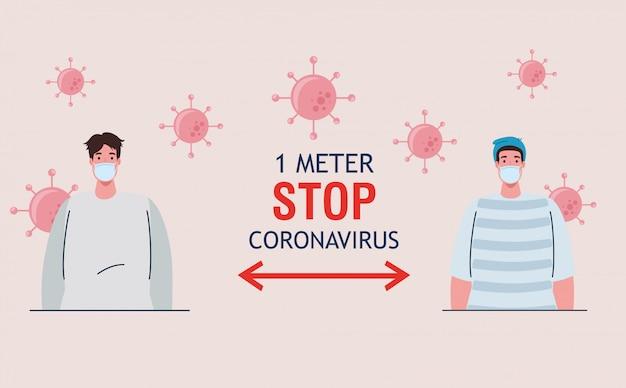 Dystans społeczny, zatrzymaj koronawirusa na odległość jednego metra, zachowaj dystans w społeczeństwie, aby chronić ludzi przed covid-19, mężczyźni w maskach medycznych przed koronawirusem