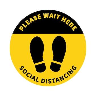 Dystans społeczny znak śladu zachowaj odległość 2 metrów ochrona przed epidemią koronowirusa