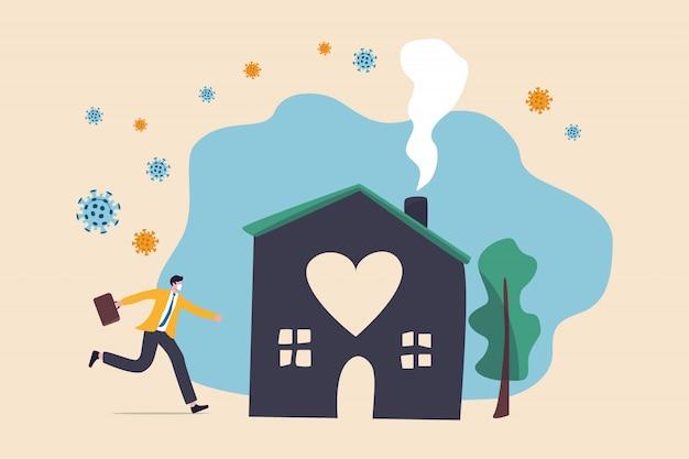 Dystans społeczny, zostań w domu w wybuchu koronawirusa covid-19, zostań w domu, aby zapobiec infekcji wirusowej, szczęśliwy biznesmen pozostań spokojny, biegając do pięknego bezpiecznego domu z patogenami wirusowymi na zewnątrz