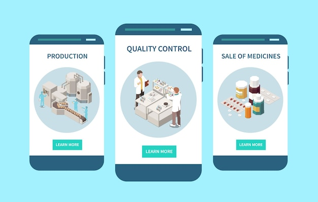 Dystrybucja kontroli produkcji farmaceutycznej zarejestrowana na sprzedaż kontrola jakości leków ekran mobilny izometryczny