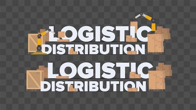 Dystrybucja logistyczna. napis o tematyce industrialnej. kartony. koncepcja transportu i dostawy. wektor.