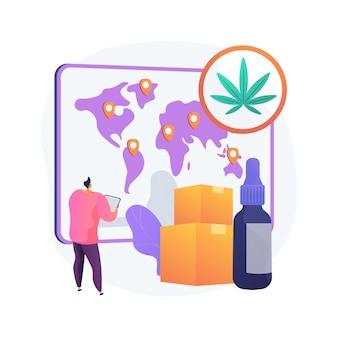 Dystrybucja produktów konopnych abstrakcyjna koncepcja ilustracji wektorowych. handel detaliczny konopiami indyjskimi, rynek sprzedaży marihuany, zamówienia online, ekstrakt z konopi, suplementy diety, hurtowa abstrakcyjna metafora.