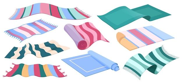 Dywany podłogowe z kolekcji dywanów z wzorem w paski i frędzlami