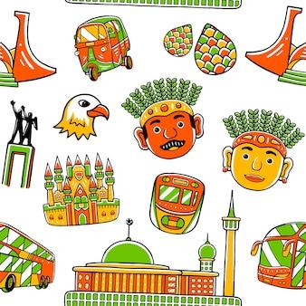Dżakarta bez szwu wzór miasta w stylu płaskiej konstrukcji