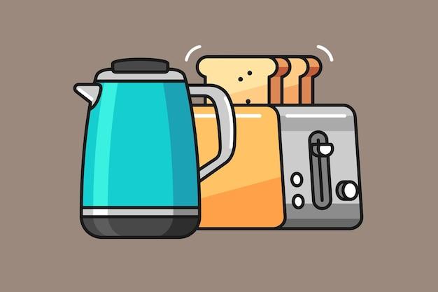 Dzbanek do herbaty i toster projekt ilustracji