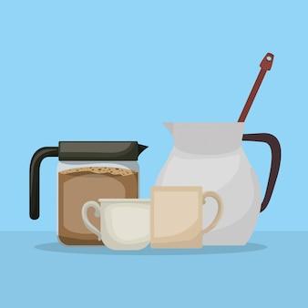 Dzbanek do kawy dzbanek i kubki projekt, pić napój śniadanie piekarnia restauracja i sklep tematu ilustracji wektorowych