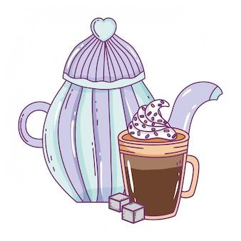 Dzbanek do kawy na białym tle