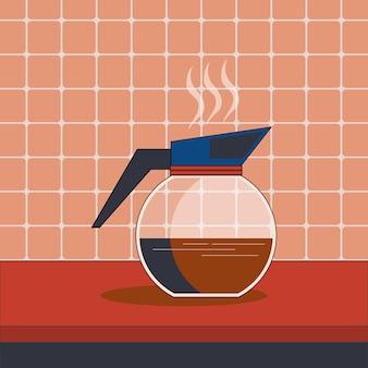 Dzbanek do kawy na stole ilustracja płaska sztuka