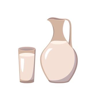 Dzbanek do mleka i szklana ikona produkt mleczny biały jogurt lub kefir źródło witaminy a