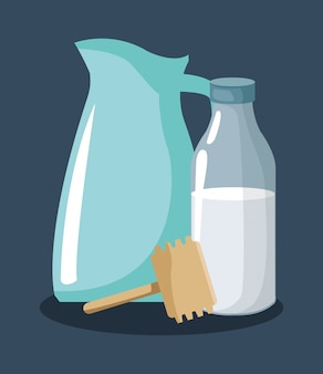 Dzbanek z butelką mleka