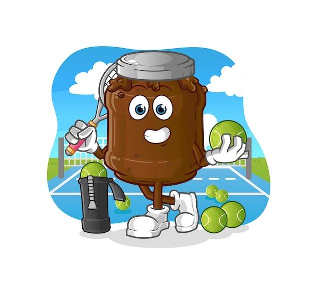 Dżem czekoladowy gra w tenisa. postać