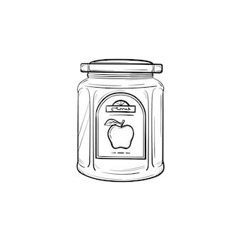 Dżem jabłkowy w szklanym słoju ręcznie rysowane konspektu doodle ikona. zamknięty szklany słoik dżemu jabłkowego wektor szkic ilustracji do druku, sieci web, mobile i infografiki na białym tle.