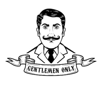 Dżentelmen ilustracja na białym tle. element plakatu, godła, znaku, logo, etykiety. ilustracja