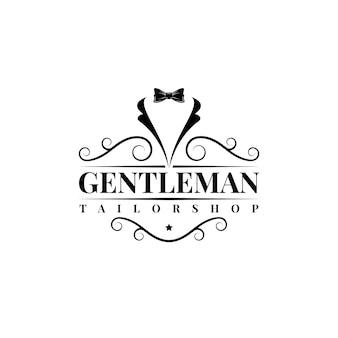 Dżentelmen muszka smoking garnitur moda krawiec ubrania vintage klasyczne logo projekt wektor