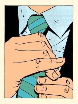 Dżentelmen prostuje krawat