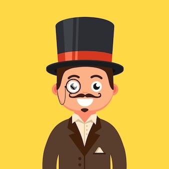 Dżentelmen w cylindrze z wąsami i monoklu. człowiek z xix wieku. ilustracja płaski charakter.