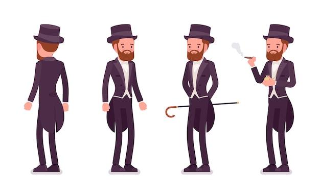 Dżentelmen w czarnej smokingowej marynarce ze stojącymi frakami
