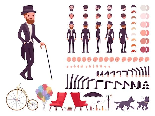 Dżentelmen w zestawie do budowy czarnej marynarki smokingowej, modny dandys w klasycznym garniturze i zestawie z cylindrem, elementy do stworzenia własnego projektu