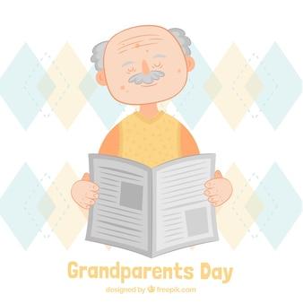 Dziadek czyta gazetę tle