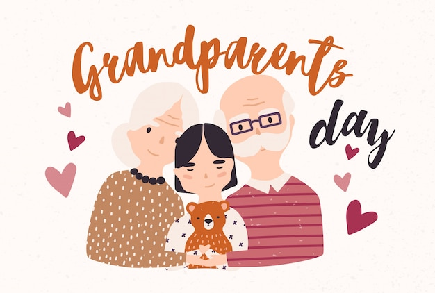 Dziadek i babcia przytulają się do wnuka. obejmując dziadka, babcię i wnuczkę.