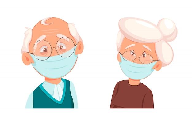 Dziadek i babcia w masce ochronnej