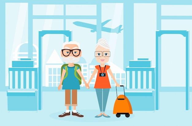 Dziadek i babcia z podróżą packsack. podróżowanie z plecakiem. ilustracja wnętrz lotniska. koncepcja podróży.