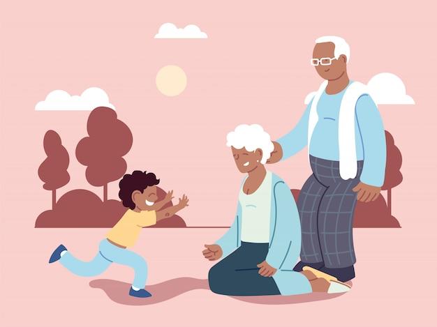 Dziadek i babcia z wnukiem, szczęśliwy dzień babci