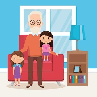 Dziadek i geandwildren w salonie