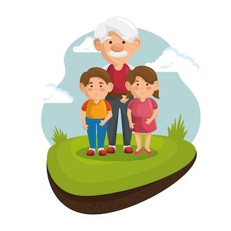 Dziadek i wnuki w parku