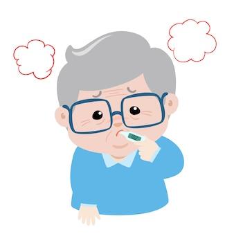 Dziadek ma wysoką temperaturę, wywołuje chorobę grypy