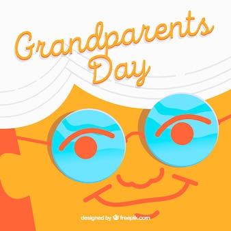 Dziadek obliczu tła w okularach