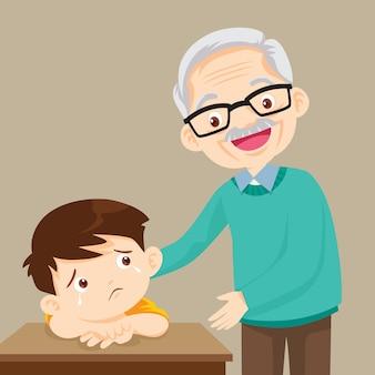 Dziadek pociesza smutnego chłopca w żałobie