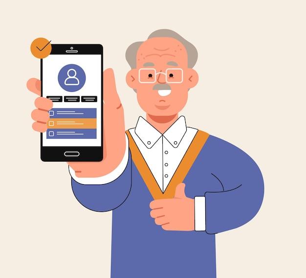 Dziadek trzyma telefon komórkowy