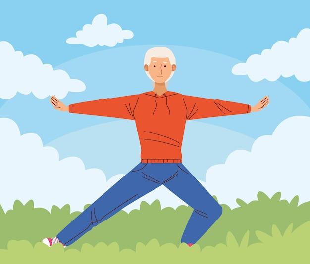 Dziadek uprawiający sport