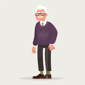 Dziadek w okularach. starszy mężczyzna z laską w rękach.