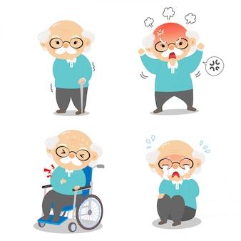 Dziadek w różnych pozycjach i wyrażający emocje.